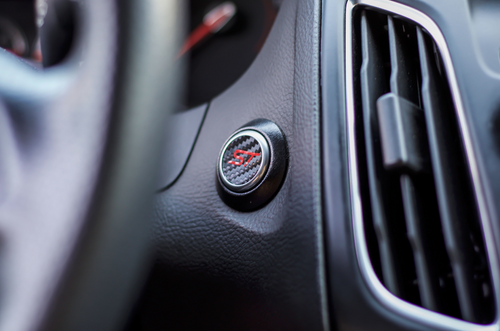 ST Start Button Overlay (Carbon Fiber/Gloss Red ST) | 2013-2019 Ford Focus ST