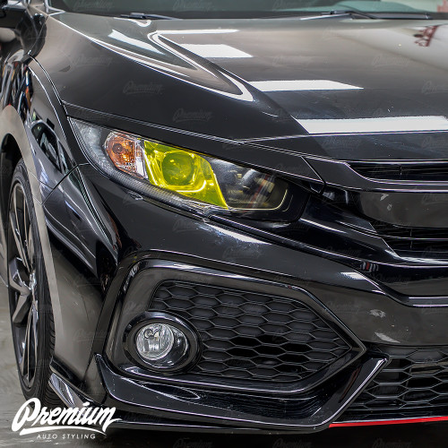 Headlight Custom Half and Half Tint v1 High Beam Smoke Tint JDM Yellow Tint Low Beam | Honda Civic Sedan 2016-2018