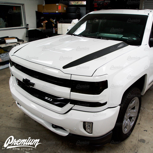 The Dominator Hood Stripe Kit v5 Vinyl Overlay - Multiple Colors Available | Chevy Silverado 2018