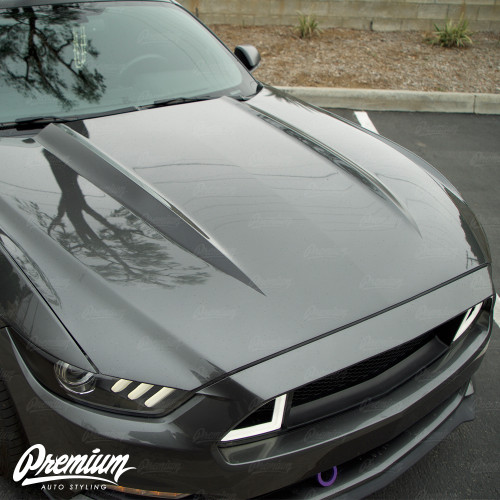 The Coyote Hood Stripe Kit v1 Vinyl Overlay - Multiple Colors Available | Ford Mustang (2015-2017)