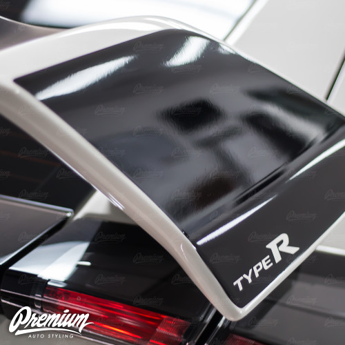 Wing End Plate with Type R Logo Cut out - Gloss Black | 2016-2018 Honda Civic Type R