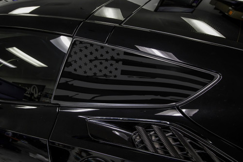 Distressed Flag Quarter Window Decal Set (2014–2019 Corvette C7)
