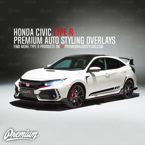 Front Bumper Accent Vinyl Overlay - Gloss Black | 2016-2018 Honda Civic Type R