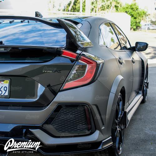 Rear Bumper Reflector Smoke Tint Overlay | 2016-2018 Honda Civic Type R