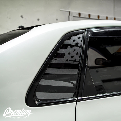Distressed Flag Quarter Window Decal Set (2008–2014 Subaru WRX/STI)