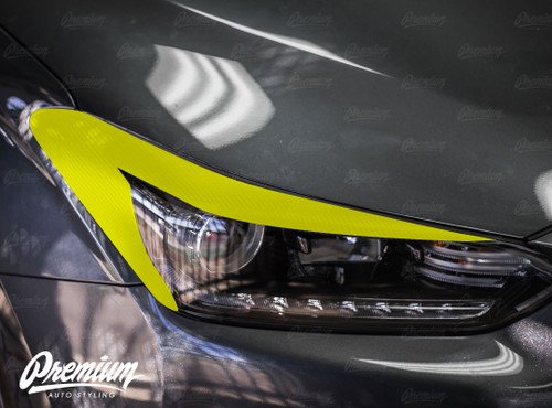 Carbon Fiber Headlight Amber Delete with Eyelid Overlay | 2018-2019 Hyundai Veloster