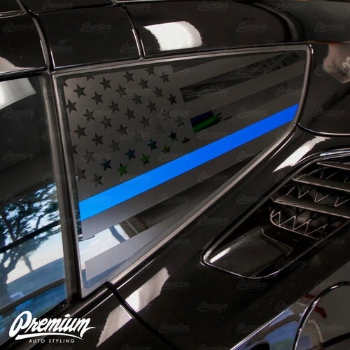 Thin Blue Line USA Flag - Quarter Window Decal Set (2014–2019 Corvette C7)