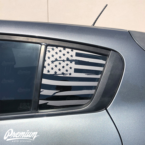 Distressed Flag Rear Quarter Window | 2014-2016 Kia Forte Hatchback