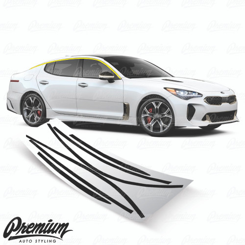 Window Trim Chrome Delete Vinyl Overlay Kit - Gloss Black | 2018-2019 Kia Stinger GT