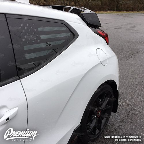 Pre-Cut American Flag Rear Quarter Window Decal - Satin Black / Satin Grey | 2018-2019 Hyundai Veloster