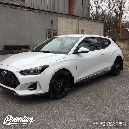 Pre-Cut American Flag Rear Quarter Window Decal - Satin Black / Satin Grey | 2018-2019 Hyundai Veloster