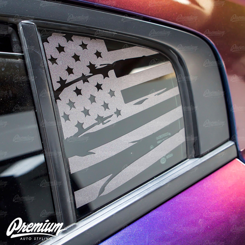 Pre-Cut Distressed  USA Flag Rear Quarter Window Decal Set - Satin Black / Satin Grey | 2015-2019 Dodge Charger