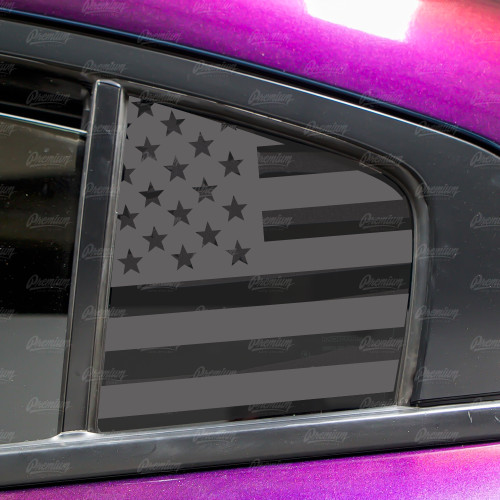Pre-Cut American Flag Rear Quarter Window Decal Set - Satin Black / Satin Grey | 2015-2019 Dodge Charger