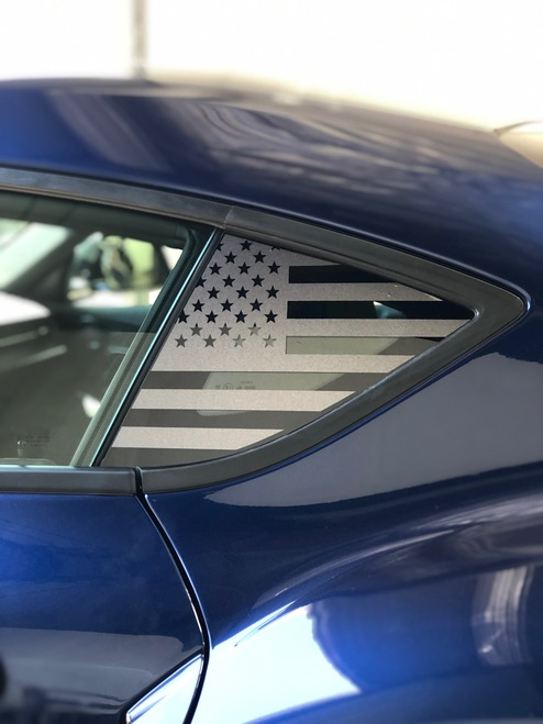 Pre-Cut American Flag Rear Quarter Window Decal Set - Satin Black / Satin Grey | 2020 Toyota Supra