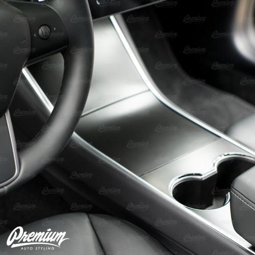 Center Console Vinyl Overlay Set - Satin Black | 2018+ Tesla Model 3