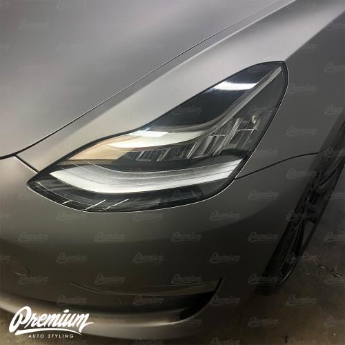 Headlight Eyelid Vinyl Accent Overlay v1 (Large) - Gloss Black | 2018+ Tesla Model 3