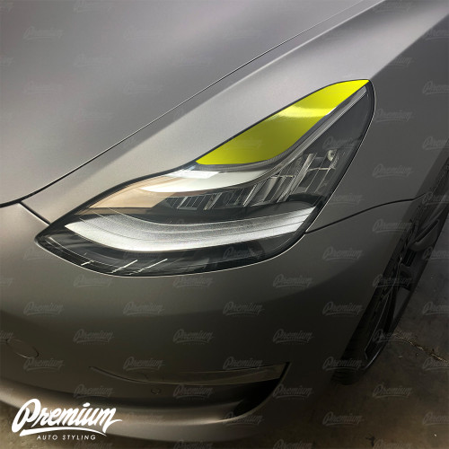 Headlight Eyelid Vinyl Accent Overlay v1 (Large) - Gloss Black | 2018+ Tesla Model 3