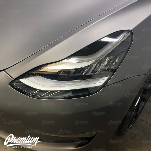 Headlight Eyelid Vinyl Accent Overlay v2 (Small) - Gloss Black | 2018+ Tesla Model 3