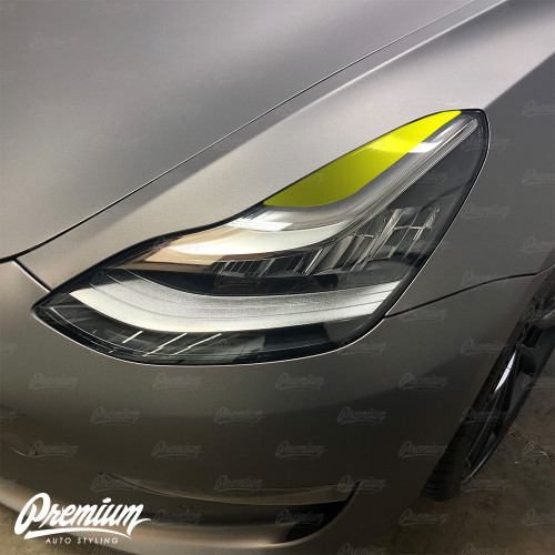 Headlight Eyelid Vinyl Accent Overlay v2 (Small) - Gloss Black | 2018+ Tesla Model 3