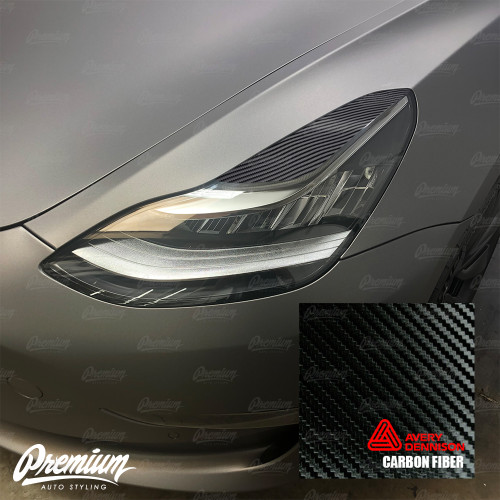 Headlight Eyelid Vinyl Accent Overlay v1 (Large) - Carbon Fiber | 2018+ Tesla Model 3