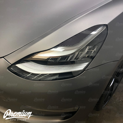 Headlight Eyelid Vinyl Accent Overlay v2 (Small) - Carbon Fiber | 2018+ Tesla Model 3