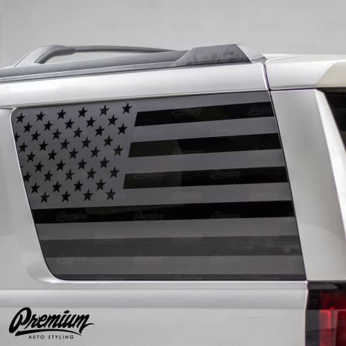 Pre-Cut American Flag Rear Quarter Window Decal Set - Satin Black / Satin Grey | 2015-2019 Chevrolet Tahoe