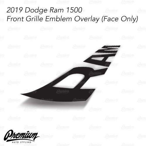 Gloss Black - Front Grille RAM Emblem Vinyl Overlay ( Face Only ) | 2019 Dodge Ram 1500