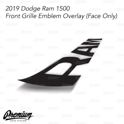 Satin Black - Front Grille RAM Emblem Vinyl Overlay ( Face Only ) | 2019 Dodge Ram 1500