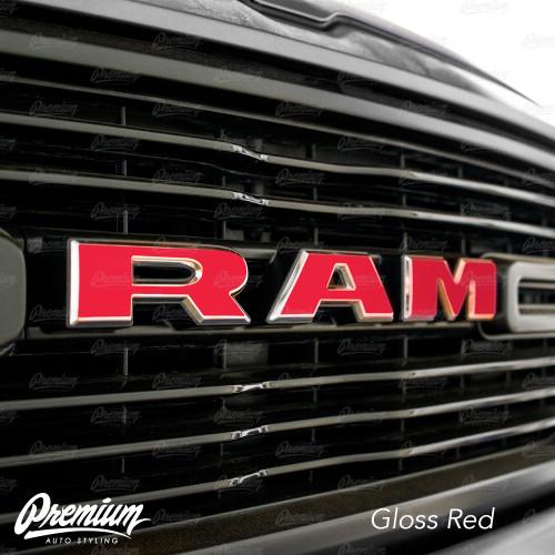 ( Choose Your Color ) - Front Grille RAM Emblem Vinyl Overlay ( Face Only ) | 2019 Dodge Ram 1500