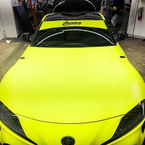 Premium Auto Styling Logo Windshield Banner | Neon Yellow Base - Gloss Black Logo