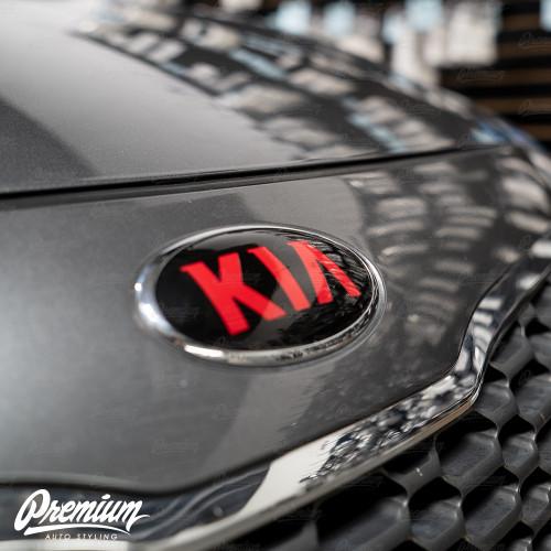 Gloss Black - Front & Rear Emblem Vinyl Overlay Set (Choose Your Color) + Steering Wheel Emblem | 2014-2016 Kia Forte Hatchback