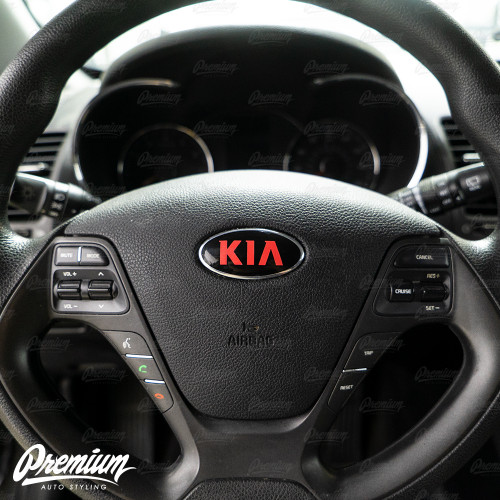 Gloss Black - Front & Rear Emblem Vinyl Overlay Set (Choose Your Color) + Steering Wheel Emblem | 2014-2016 Kia Forte Hatchback