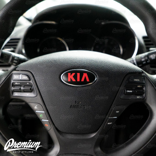 Satin Black - Front & Rear Emblem Vinyl Overlay Set (Choose Your Color) + Steering Wheel Emblem | 2014-2016 Kia Forte Hatchback