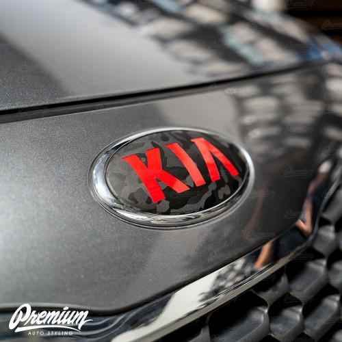 Shadow Black - Front & Rear Emblem Vinyl Overlay Set (Choose Your Color) + Steering Wheel Emblem | 2014-2016 Kia Forte Hatchback