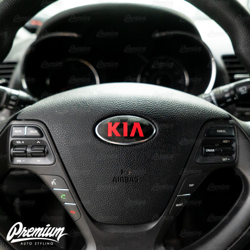 Shadow Black - Front & Rear Emblem Vinyl Overlay Set (Choose Your Color) + Steering Wheel Emblem | 2014-2016 Kia Forte Hatchback