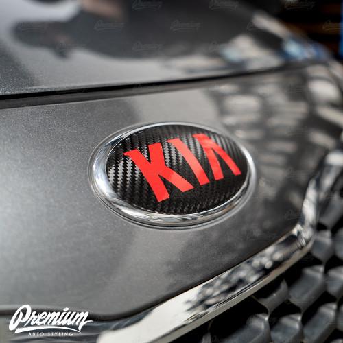 Carbon Fiber with Red Kia Logo for 2014-2016 Kia Forte Hatch