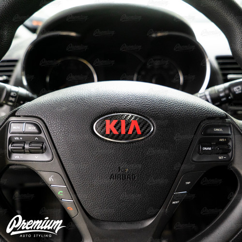 Carbon Fiber with Red Kia Logo for Steering Wheel on a 2014-2016 Kia Forte Hatch