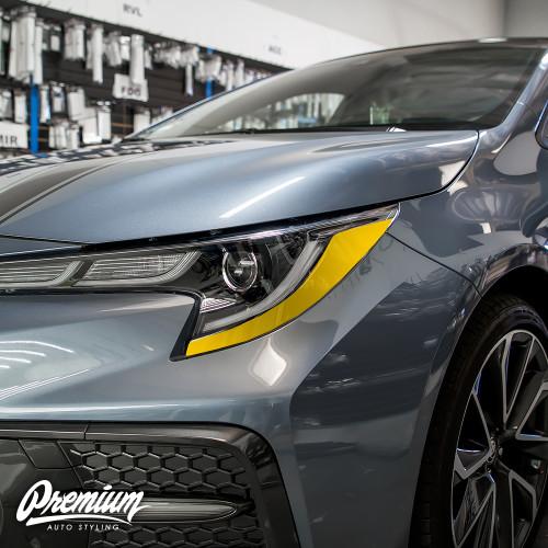 Headlight Amber Delete Overlay - Gloss Black Vinyl | 2020 Toyota Corolla Sedan
