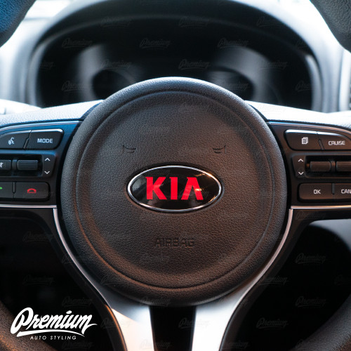 Gloss Black - Front Rear and Optional Steering Wheel Vinyl Emblem Overlay Set (Choose Your Color) Logo | 2017-2019 Kia Sportage