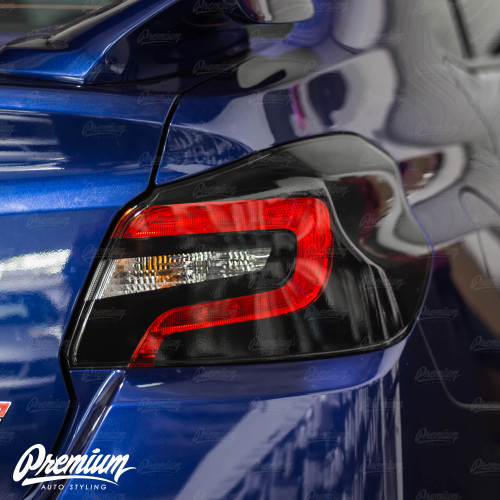 Tail Light Black Out With Custom Insert Cut Out Overlay - Gloss Black   2015-2020 Subaru WRX/STI