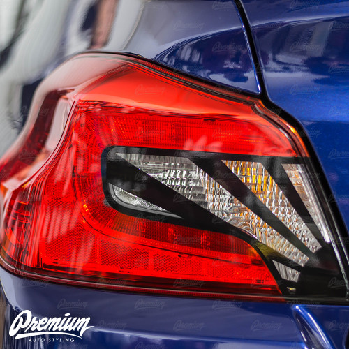 Tail Light Insert With Custom Rising Sun Cut-Out Overlay - Gloss Black   2015-2020 Subaru WRX/STI