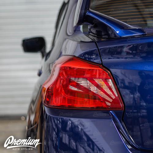 Tail Light Insert With Custom Rising Sun Cut-Out Overlay - Red Tint   2015-2020 Subaru WRX/STI