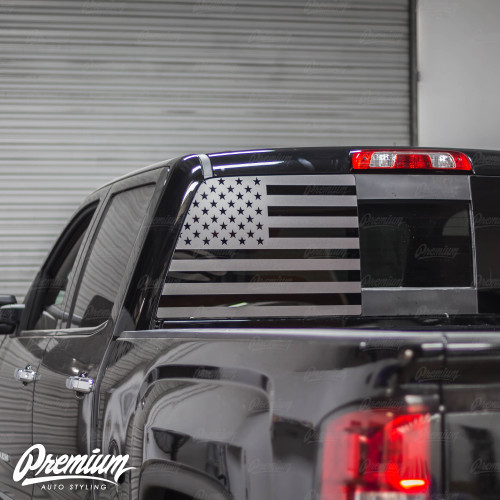 Pre-Cut American Flag Rear  Window Decal - Satin Black / Satin Grey | 2019 GMC Denali