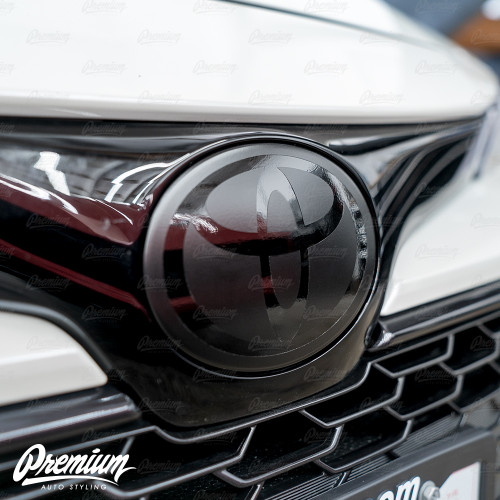 Stealth - Front Vinyl Emblem Overlay Satin and Gloss Black | 2019-2021 Toyota Corolla