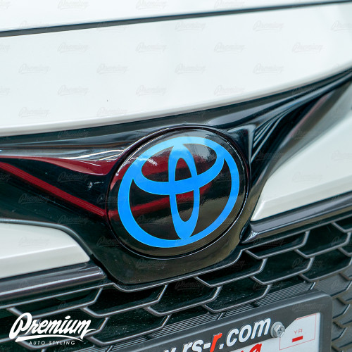 Front Vinyl Emblem Overlay Gloss Black (Choose Your Logo Color) | 2019-2021 Toyota Corolla