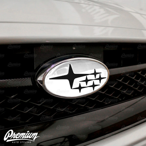 Gloss Black Stars - Front & Rear Emblem Vinyl Overlay (Choose Your Color Background) | 2015-2020 Subaru WRX/STI