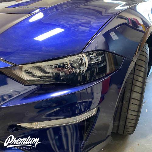 Headlight Amber Delete Overlay V2 - Gloss Black | 2018-2019 Ford Mustang GT