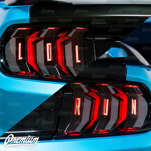 """LOL RUN"" Tail Light Black Out with Custom Cut-Out Vinyl Overlay - Gloss Black 