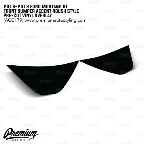 Front Bumper Roush Style Accent Overlay - Satin Black | 2018-2019 Ford Mustang GT