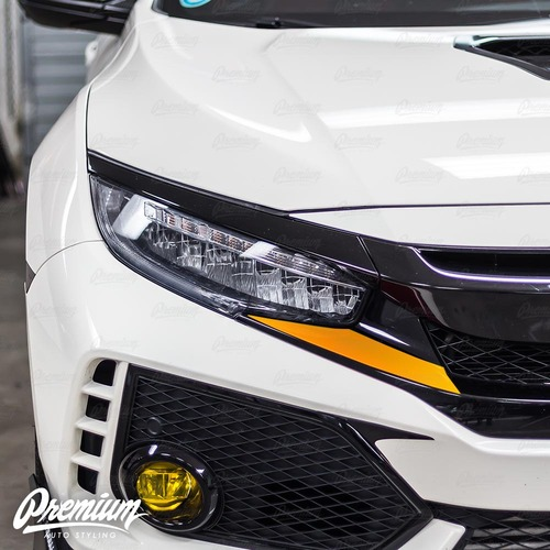 Front Bumper Under Eyelid Accent Vinyl Overlay v2 - Gloss Red | 2016-2018 Honda Civic Type R